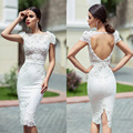 Robes Mariage Court Sexy Backless Wedding Dresses Lace Mermaid Wedding Gowns Cap Sleeve Knee Length Bridal Gowns Free Shipping