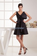 free shipping women 2014 new design hot sale v-neck handmade bow cap sleeve brides maid dress custom size short evening