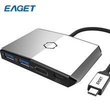 EAGET Multi USB Hub 3.0 Power Adapter 6 Port Charging Type-c Hub USB Splitter USB-C Hub SD TF Card Reader HDMI For Macbook CH36