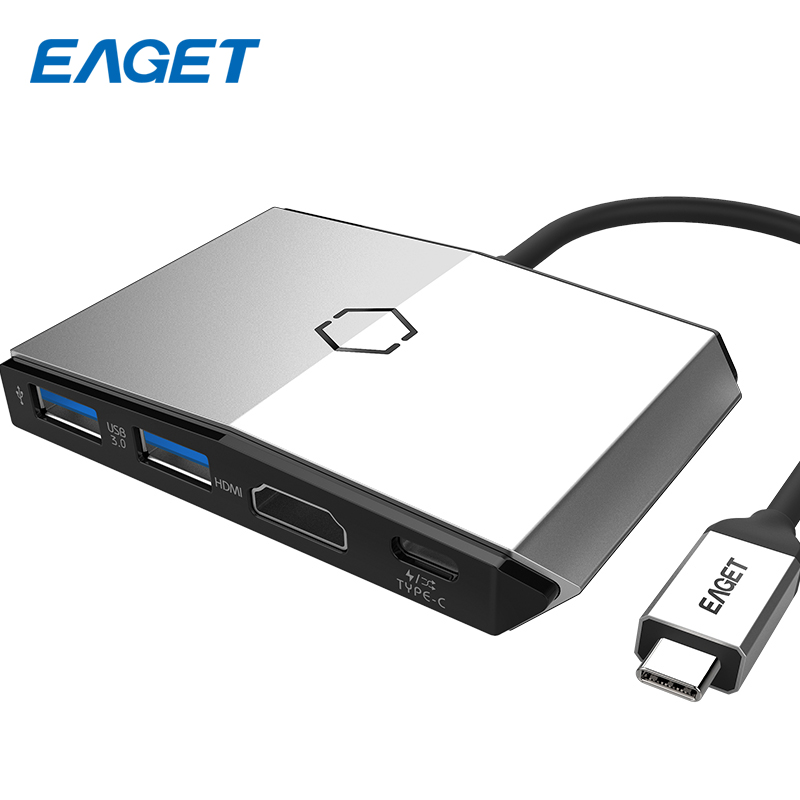 EAGET USB Hub 3.0 Power Adapter 6 Port Charging Type-c Hub USB Splitter USB-C Hub SD TF Card Reader 4K Video HD HDMI For Macbook 668 usb 3 1 type c card reader