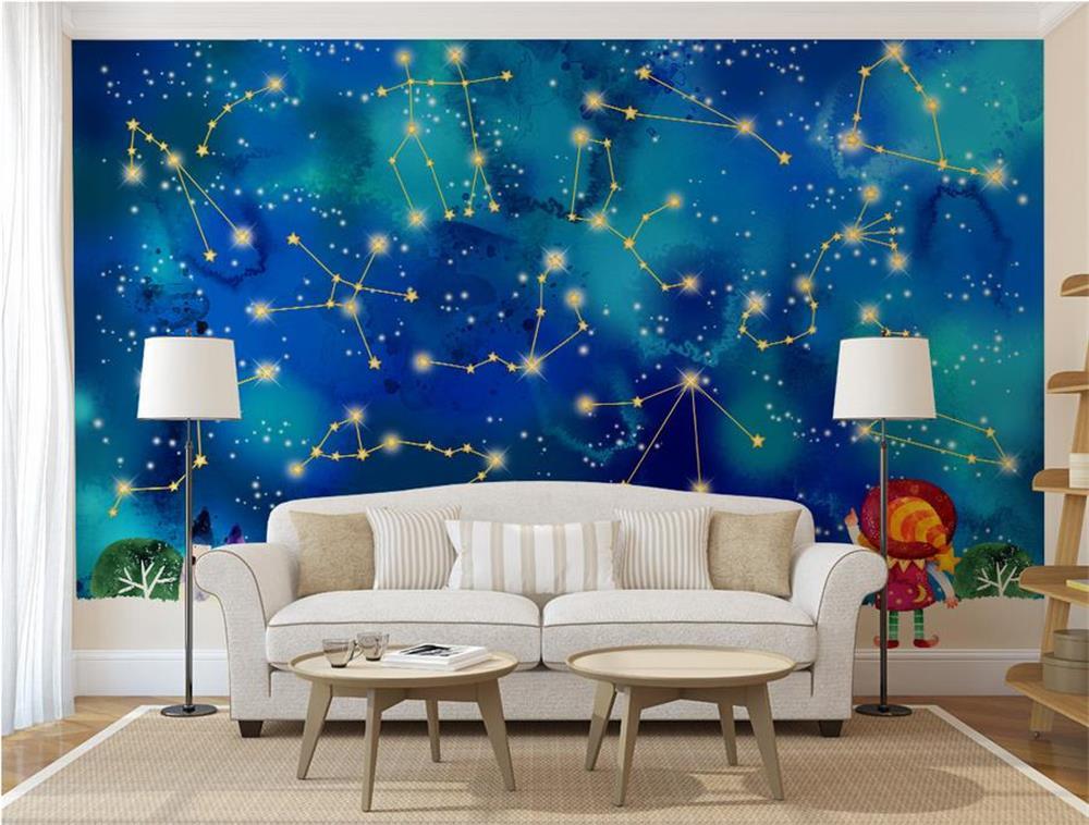 3D wallpaper/custom photo wall paper/Dream watercolor twelve constellation stars/TV/sofa/Bedding/KTV/Hotel/living room/Children