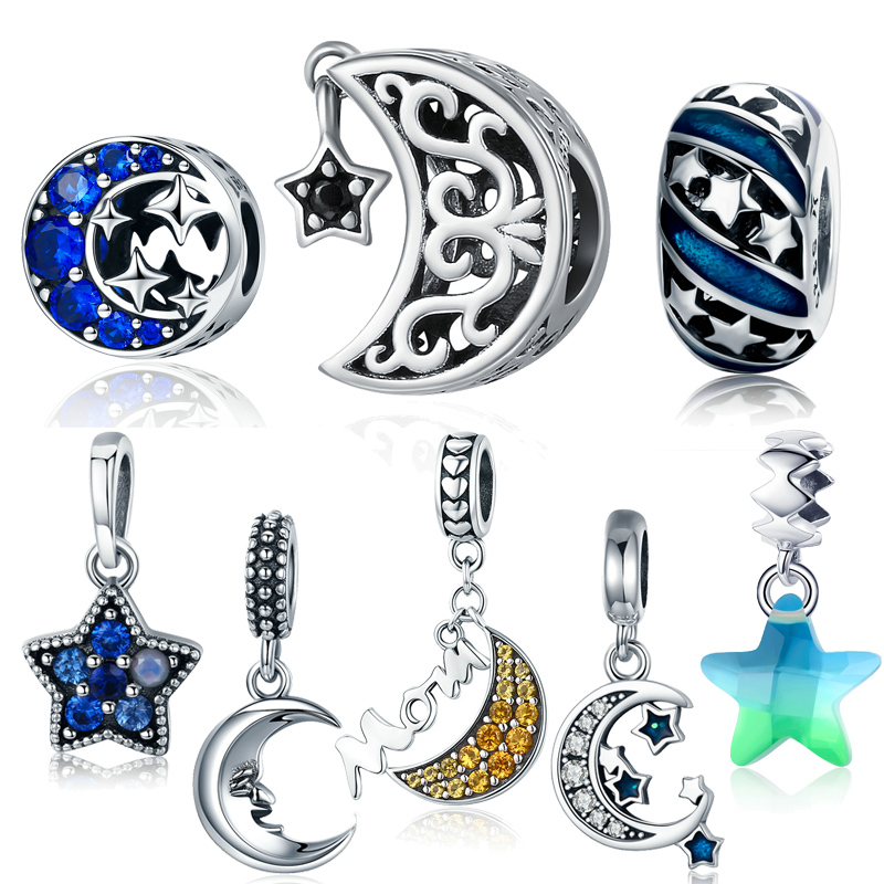 LJP New Arrvial 100% 925 Sterling Silver & Zircon Moon and Stars DIY Charm fit Original Pandora Bracelet DIY Beads Jewelry charm moon 2015 100