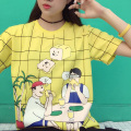 Fashion Lolita Sweet Girl T-Shirt Cartoon Picnic Plaid Bread Print Women Cotton Soft Top Loose Harajuku TShirt