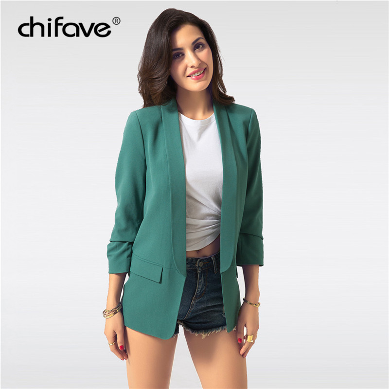 2018 chifave Fashion Autumn Thin Slim Jackets For Women Casual Cuff Folds Office Ladies Coats Woman's Solid Black White Jackets