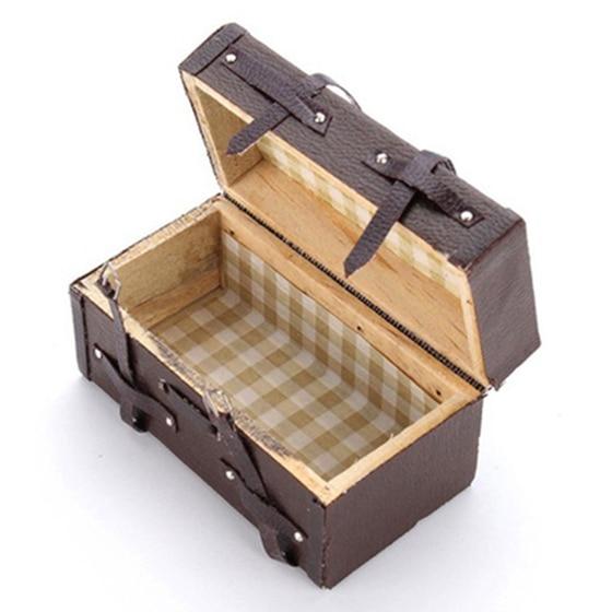 LCLL-1:12 Doll House Miniature Vintage Leather Wood Suitcase Mini Luggage Box