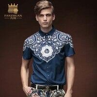 FANZHUAN 2017New 여름 남성 인쇄 짧은 소매 셔츠 슬림 성격 트렌드 청소년 남성 바로크 남성 셔츠 옷 하와