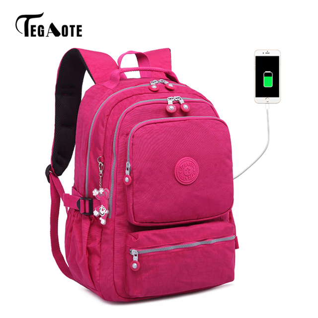TEGAOTE 女性ランドセル抗盗難 USB 充電バックパックメンズラップトップ Bagpack 学校十代の少女 Mochila 旅行