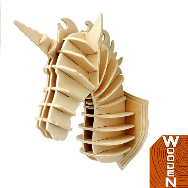 3D пазлы деревянные единорог поделки мини деревянная модель лобзики голова оленя - тау - слон - Sheepshead - единорог опущенной головой украшения дома