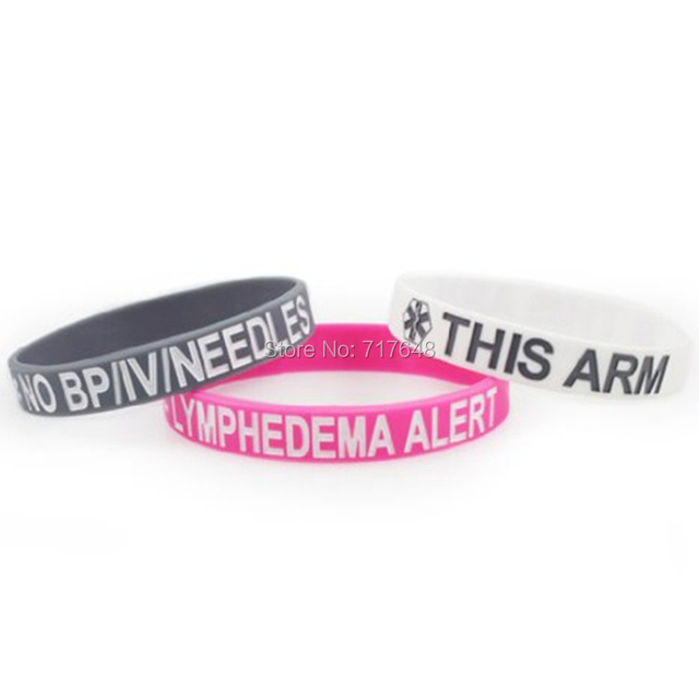 300pcs This Arm No Bp Iv Needles Lymphedema Alert Wristband Silicone Bracelets Wrist Bands Bangle Free