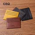 GSQ Hote Sale Genuine Leather Card Holder Thin Card Case Mens Front Pocket Men Purse Slim Wallet Men Mini Coin Pocket 4 Colors