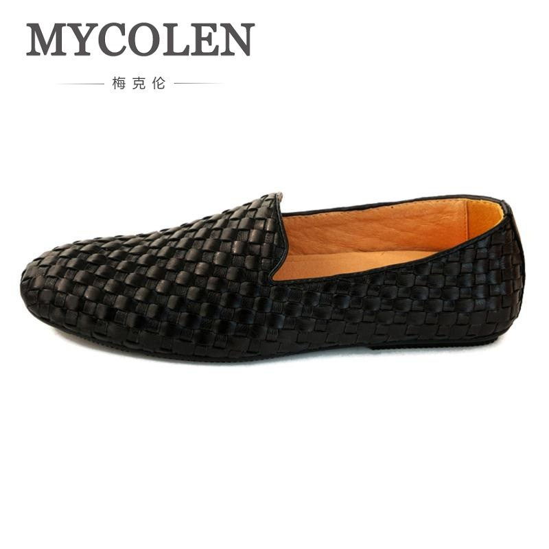 MYCOLEN High Quality Genuine Leather Men Loafers Fashion Slip-On Driving Shoes Men Woven Pattern Causal Flats Zapatilla Hombre branded men s penny loafes casual men s full grain leather emboss crocodile boat shoes slip on breathable moccasin driving shoes