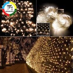 Coversage عيد الميلاد الستار في الهواء الطلق Led سلسلة الجنية ديكور عيد الميلاد ستارة زفاف أضواء 2x3M 4x6M أكاليل مصابيح Led شبكية