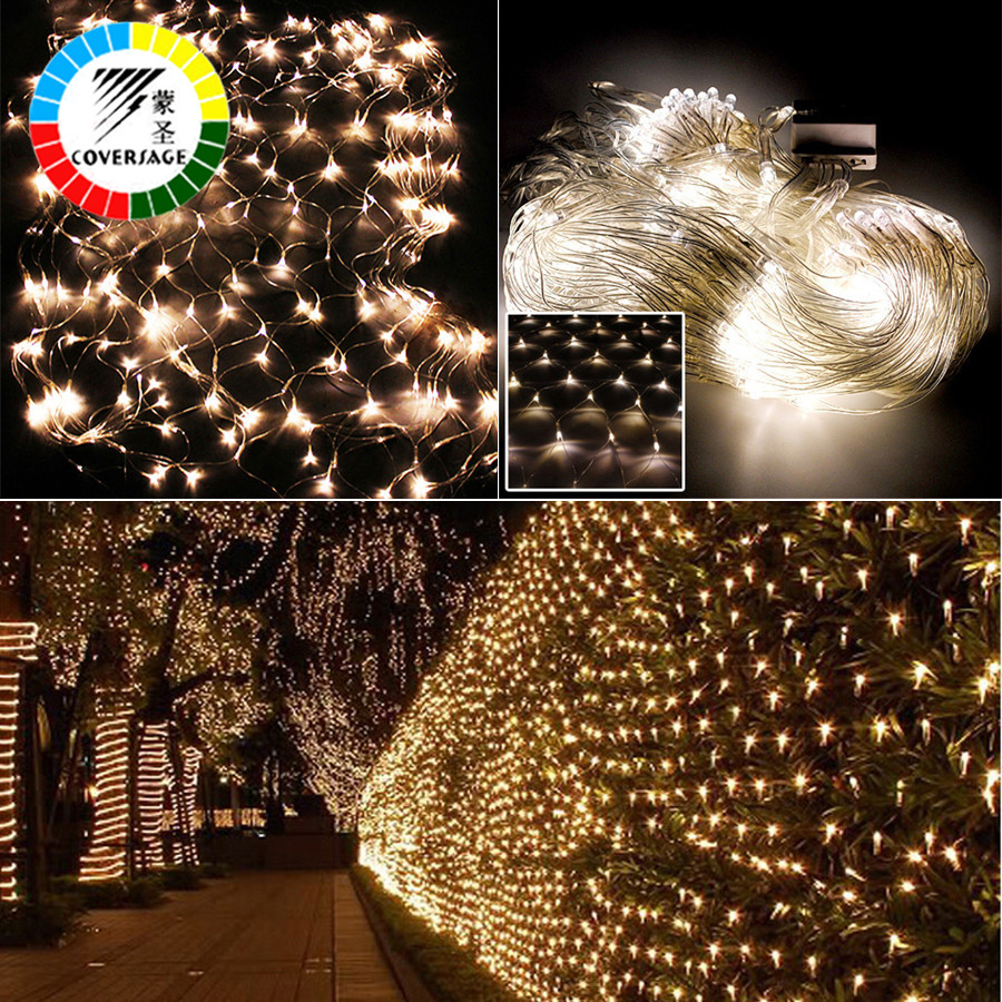 Coversage Christmas Curtain Outdoor Led String Fairy Decorative Xmas Wedding Curtain Lights 2x3M 4x6M Garlands LED Net Lights