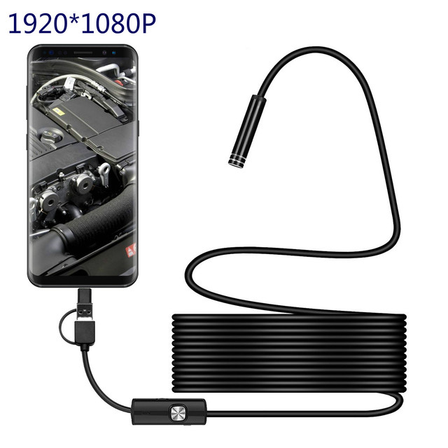 3IN1 Type c 8.0mm Endoscope Camera 1080P HD USB Endoscope with 8 LED 1/2/5M Cable Waterproof Inspection Borescope for Android PC