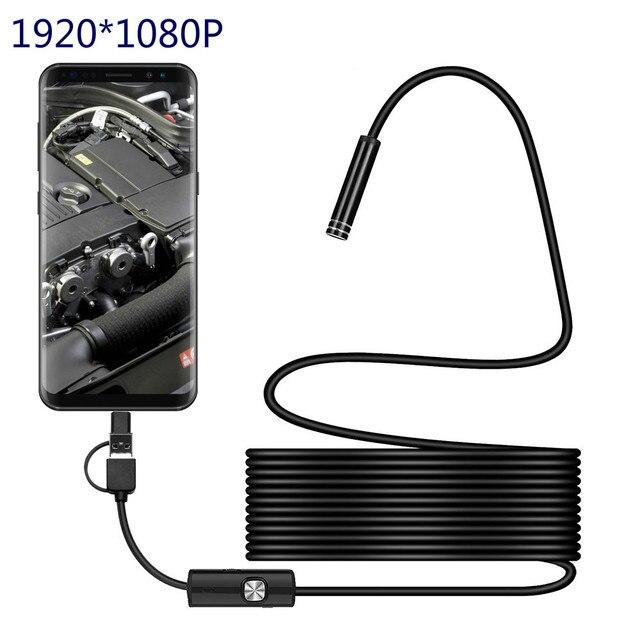 3IN1 tip c 8.0mm Endoskop Kamera 1080 P HD USB endoskop 8 LED ile 1/2/5 M Kablo için Su Geçirmez Muayene Borescope Android PC