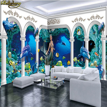 beibehang Custom photo wallpaper large mural underwater world Roman pillar palace dolphin whole house background wall murals