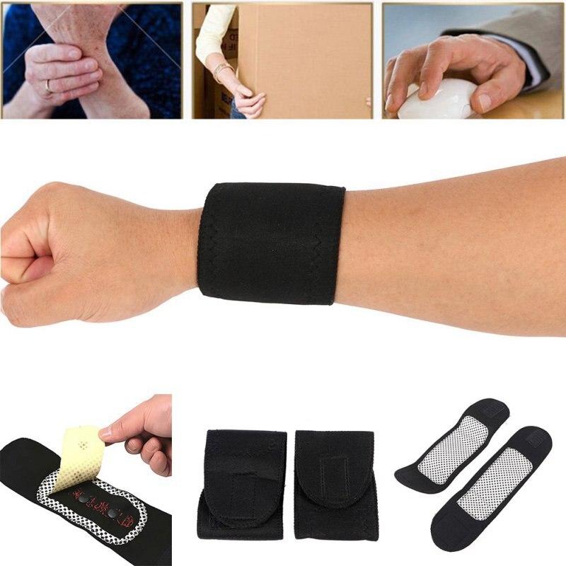 1 Pair Tourmaline Self-Heating Wrist Band Far Infrared Magnetic Therapy Heating Pad Health Care Комедон