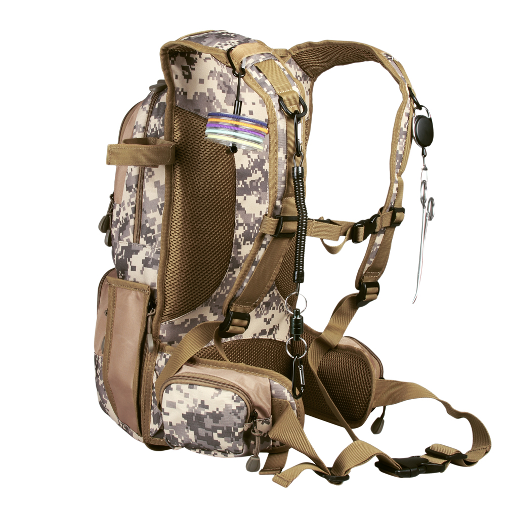 Camo Fishing Back Pack Adjustable Size Fly Fishing Backpack Camo Fly Fishing Vest Multi Pocket Sports