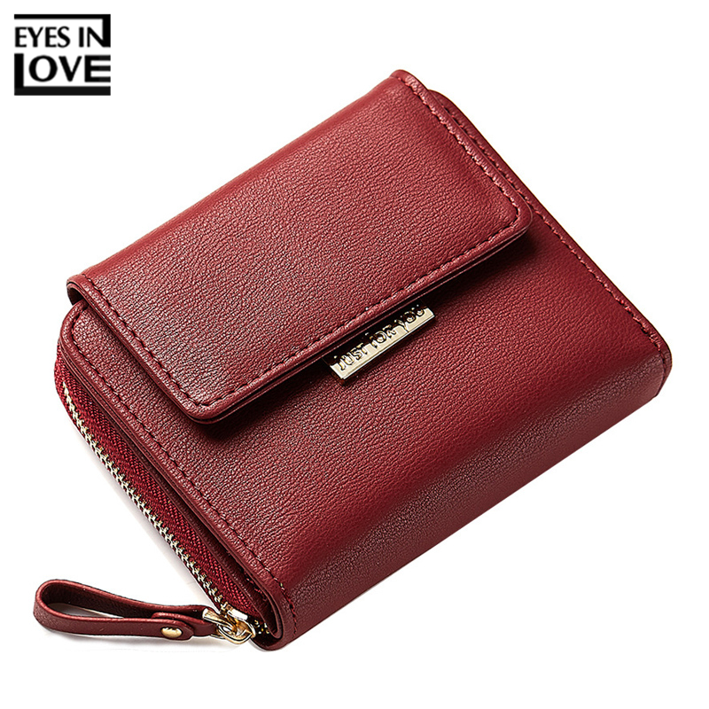 купить EYES IN LOVE Red Women Wallets Soft Leather Zipper Coin Purse Female Card Wallet Brand Designer Ladies Small Purse Carteira по цене 542.62 рублей