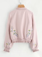 Women Fall New Raglan Sleeve Frill Trim Embroidered Bomber Jacket Fashion Print Flare Stand Collar Coat