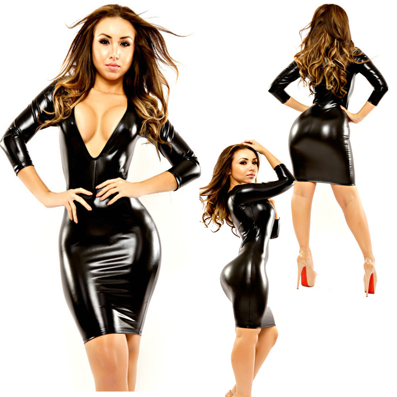 Plus Size 2016 Cheap Fine Women Sexy Leather Latex Bodycon Pencil Mini Dress Deep V Wetlook Slim Hip Pole Dance Clothes Catsuit