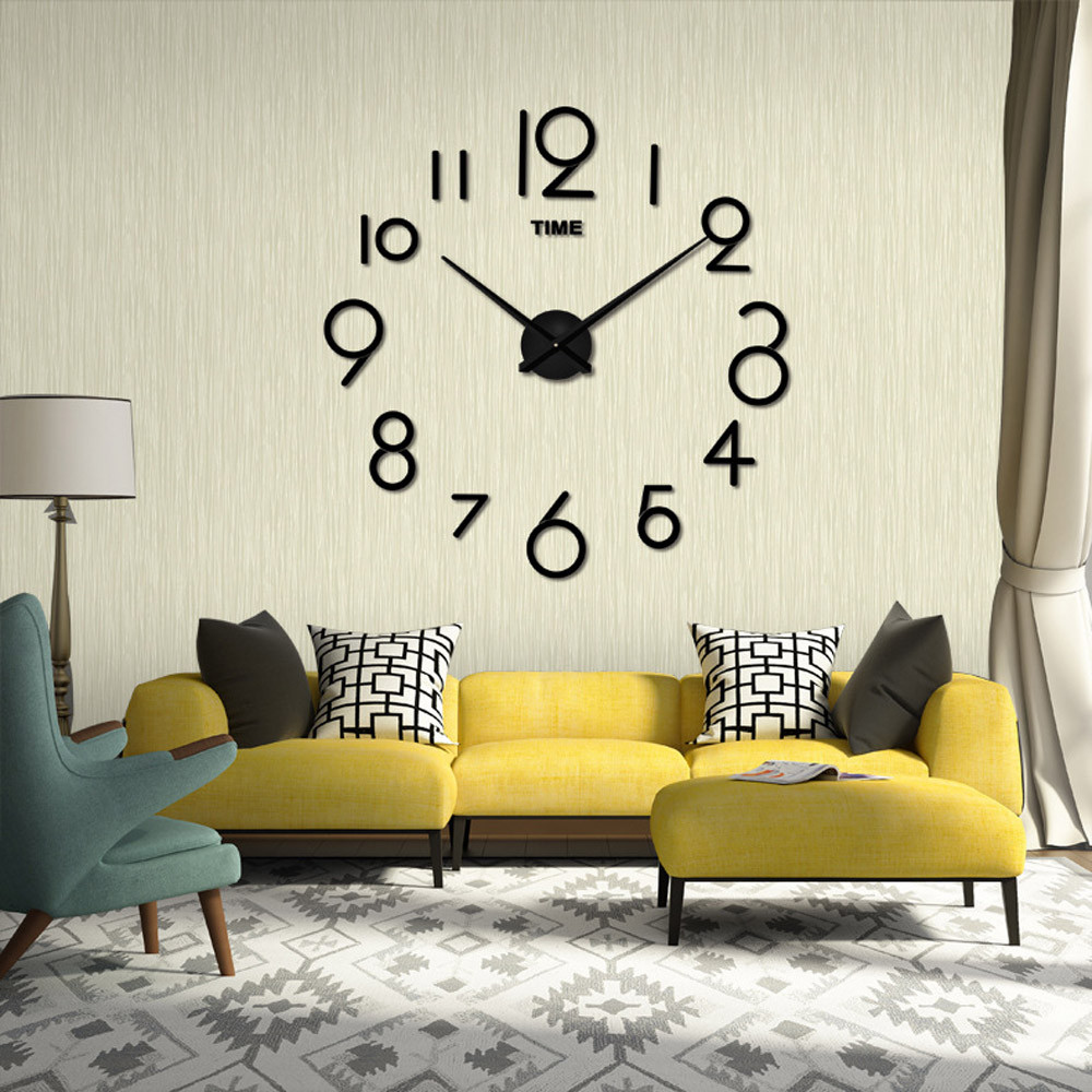 Novelty 2 Color Wall Stickers Clock Living Room DIY 3D Home ...