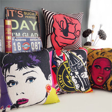 Nordic Cartoon anime characters Pattern 4378 Linen Cushion Cover Home Decorative Pillow Case Sofa Chair Waist Pillow cover