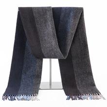 Bufanda de lana 100% para hombre, pañuelo de lana sólido a cuadros, largo y cálido de lujo, suave, de Cachemira, accesorios de invierno