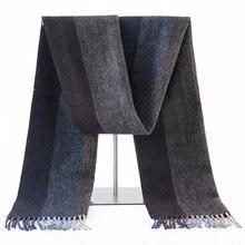 Écharpe en laine dagneau pour hommes, classique, de luxe, chaude, longue et douce, en cachemire, accessoires dhiver, collection 100%