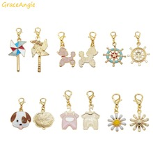 6pcs Cute Pendant with Lobster Clasp Necklace Enamel Dog flower Anchor DIY Keychain Earring Jewelry Making Dangle Charms