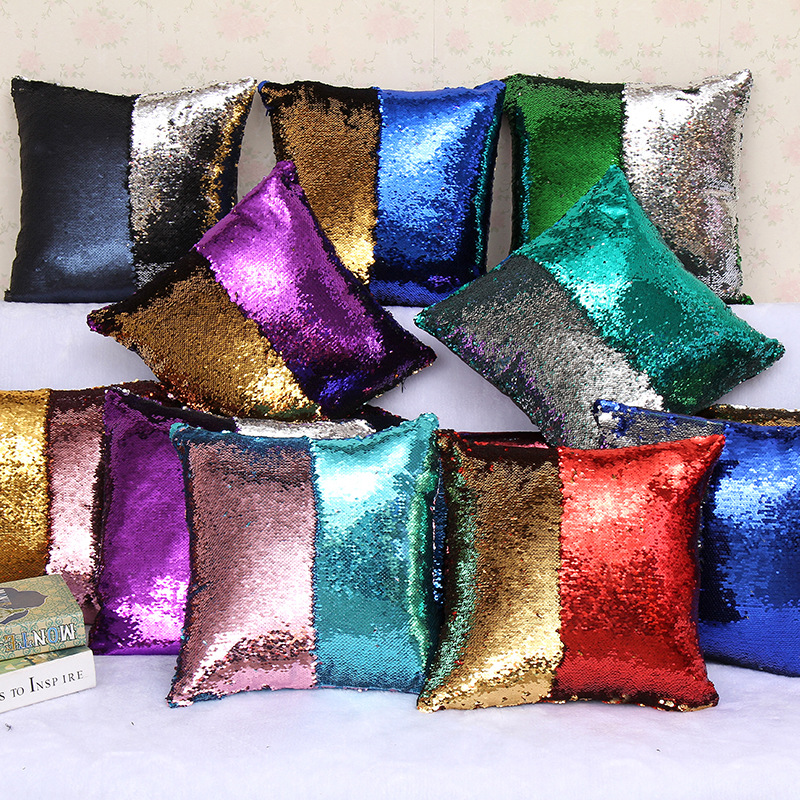 Pillow Cover Magical Black Throw Cover 40cmX40cm Color Changing Reversible Square Case 1 Piece