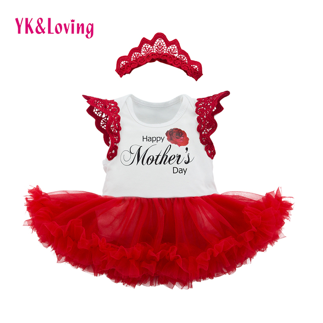 Retail Mothers Day Baby Girl Clothes with Wing Cotton Sleeveless Romper and Headband 2 Pcs Lovely Newborn Girls Dress for Party