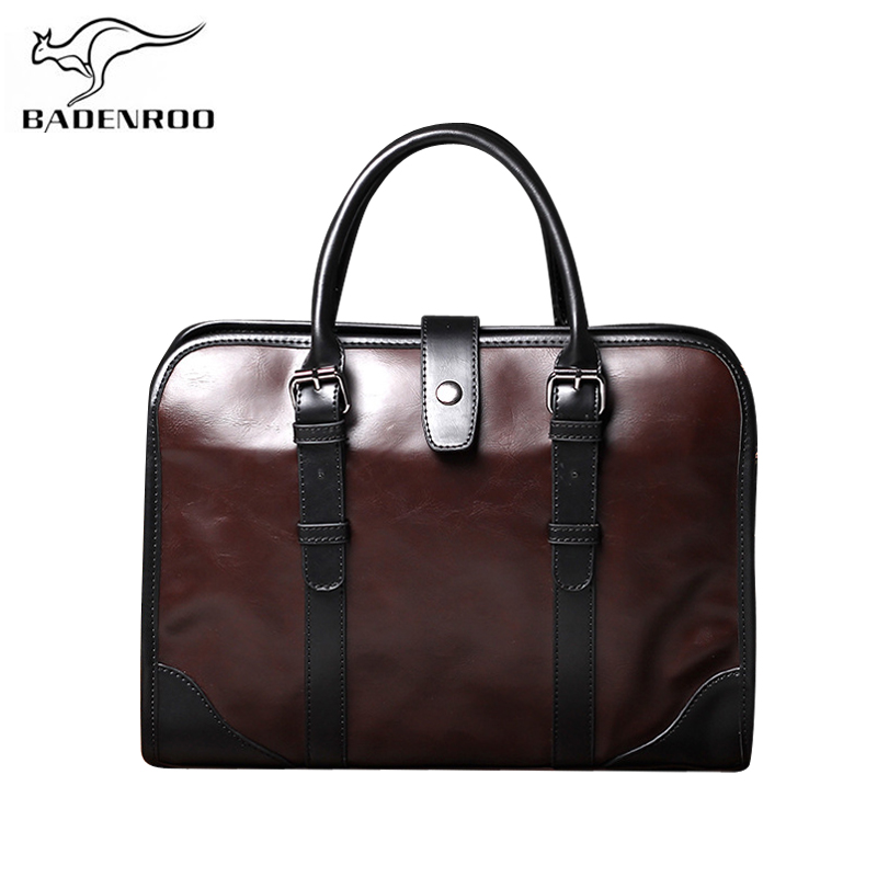 Badenroo Leather Male Bag Handbags Business Men Crossbody Bags Designer Briefcase Portfolio Belt Men's Shoulder Messenger Bags