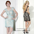 Pretty Mint Green Black Short Lace Cocktail Dress Backless Sheath Imported Party Dresses 2015 Vestidos Curtos Para Festa