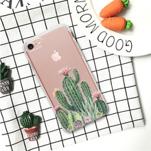 Cactus Print Phone Case For iPhone 7 8 Plus XS Max XR Silicone Cases For iPhone X 8 7 6 6S Plus 5 SE Soft transparent TPU Cover цена и фото
