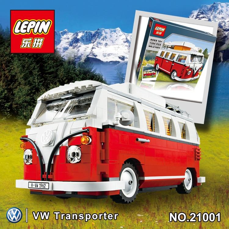 2016 Nueva LEPIN 21001 1354 Unids Creador Volkswagen T1 Camper Van Modelo Kits de Construccion Ladrillos  Juguetes lepin 07056 775 unids genuino serie movie la transcursor bat nave espacial conjunto de bloques de construccion ladrillos 70908