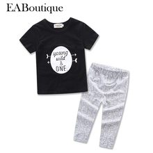 EABoutique 2017 summer new fashion letter young wild one print baby boy clothes set