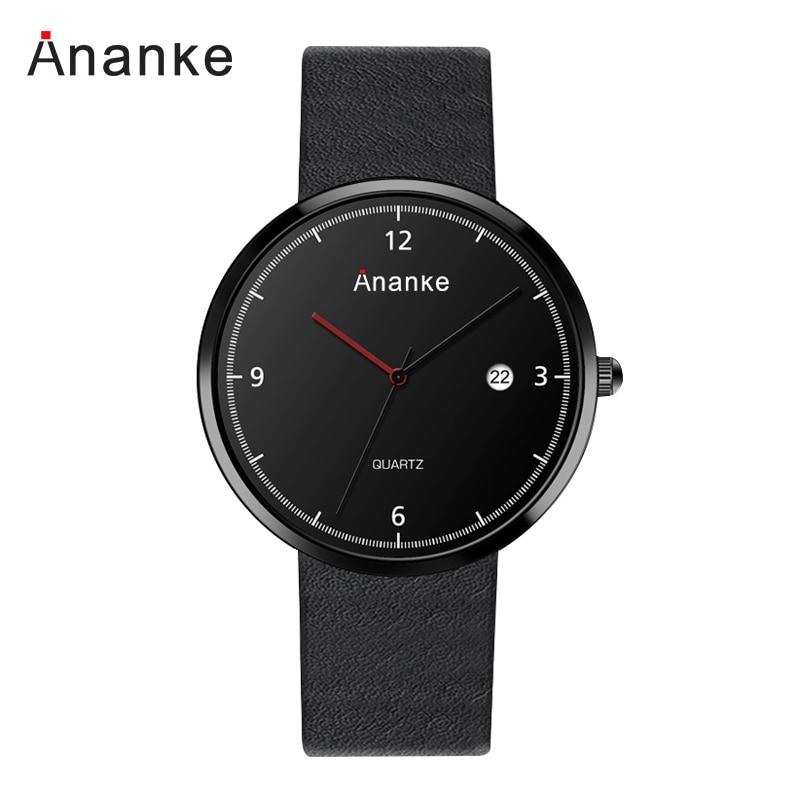 2018 Fashion Simple Large Dial Quartz Men Watch Man Leather Waterproof Wristwatches Men and Women Dress Relogio Masculino Clock