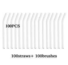 100PCS Glass Straws Clear Bent 20cm x 8 mm Drinking Straws Reusable Straws Healthy, Reusable, Eco Friendly(China)