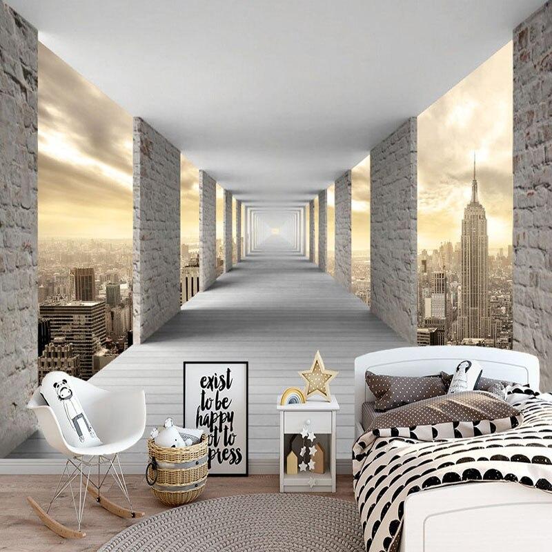 Fesselnd Moderne Einfache Wandbild Tapete 3D Stereo Geometrie Stadt Gebäude Foto  Wand Papier Persönlichkeit Kreative Wohnzimmer Schlafzimmer Fresko
