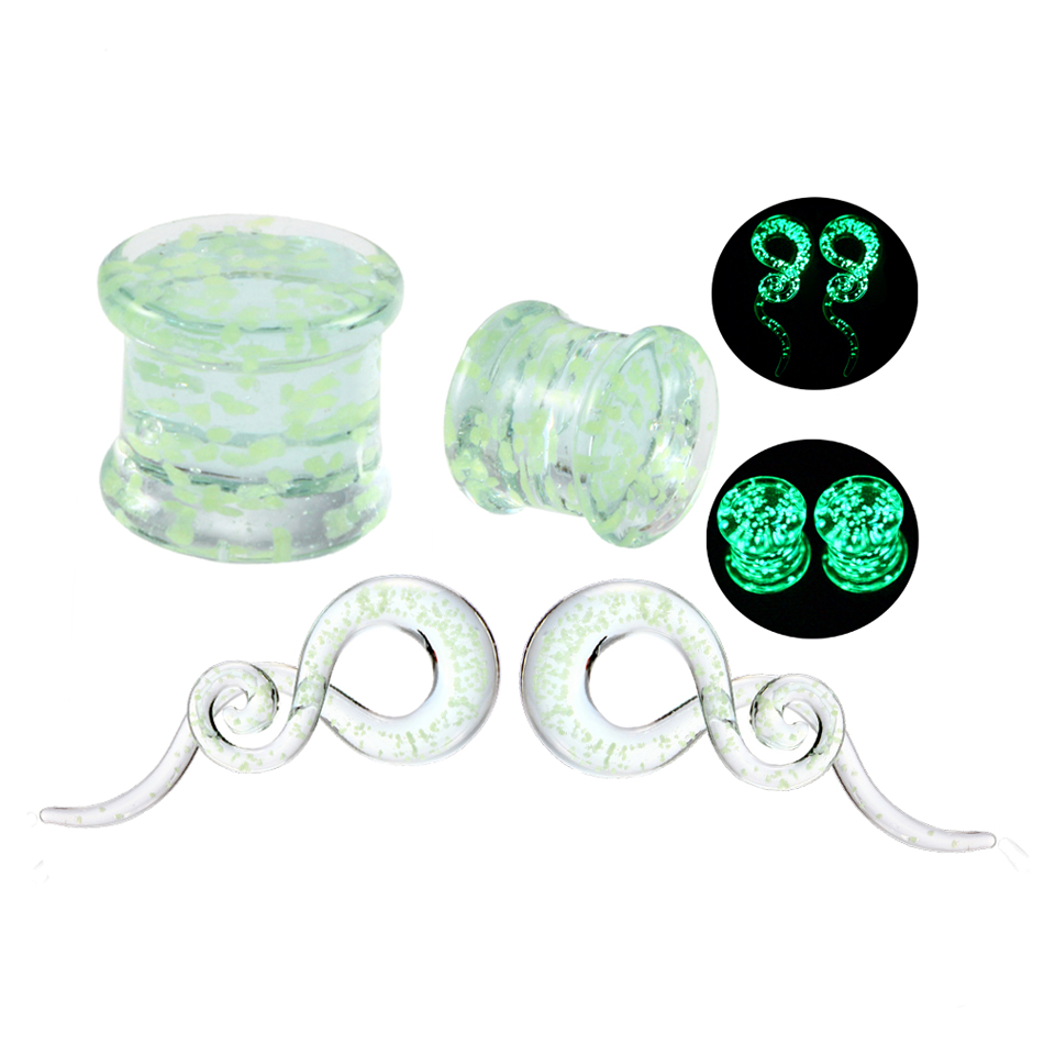 2pair/lot Pyrex Glass Glow in Dark Ear Plugs and Tunnels Ear Spiral Taper Gauge Ear Stretching Expander Body Jewelry Piercings