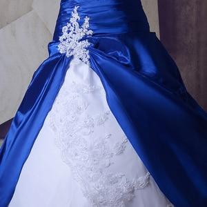 Image 3 - Vintage Royal Blu E Bianco Abiti Da Sposa Abiti 2020 Sweetheart Lace Up Abiti Da Noiva Più Il Formato Lungo Sexy Da Sposa abiti