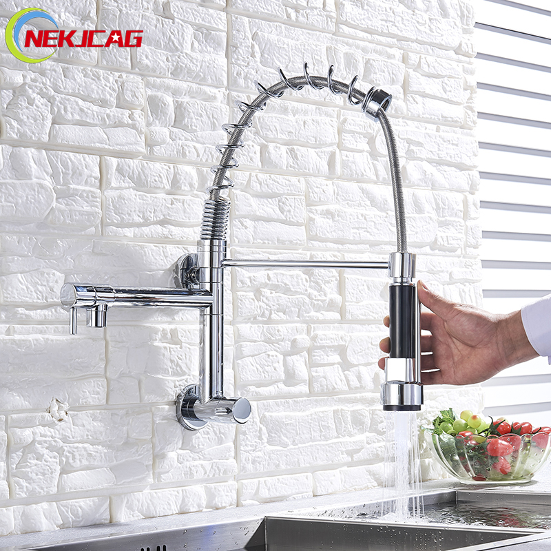 Wall Mounted Spring Kitchen Faucet Cold Water Torneira da Cozinha 360 Degree Swivel Pull Down Kitchen