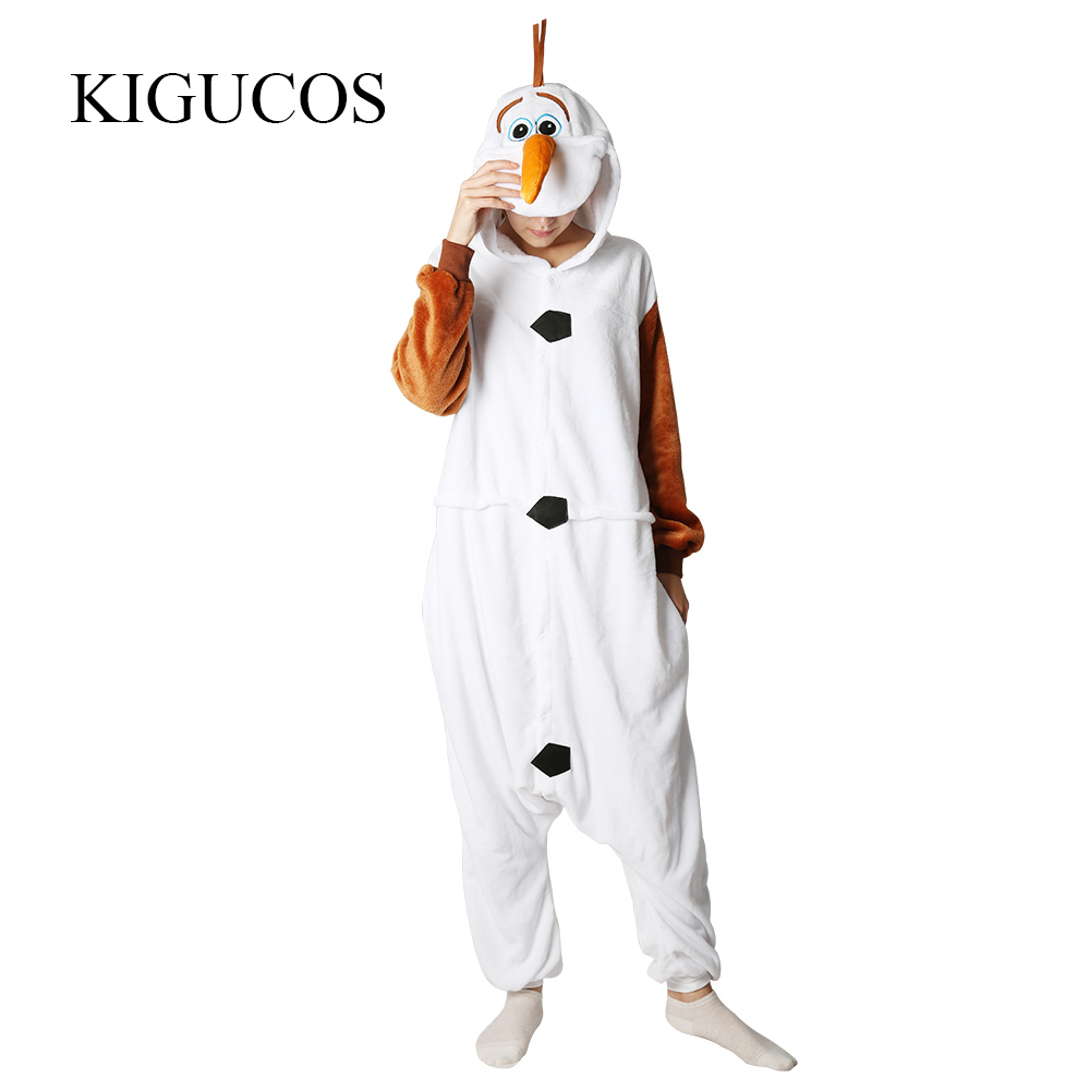 KIGUCOS Hot Cartoon Character Olaf Costumes Men And Women Winter Warm Snowman Pajamas