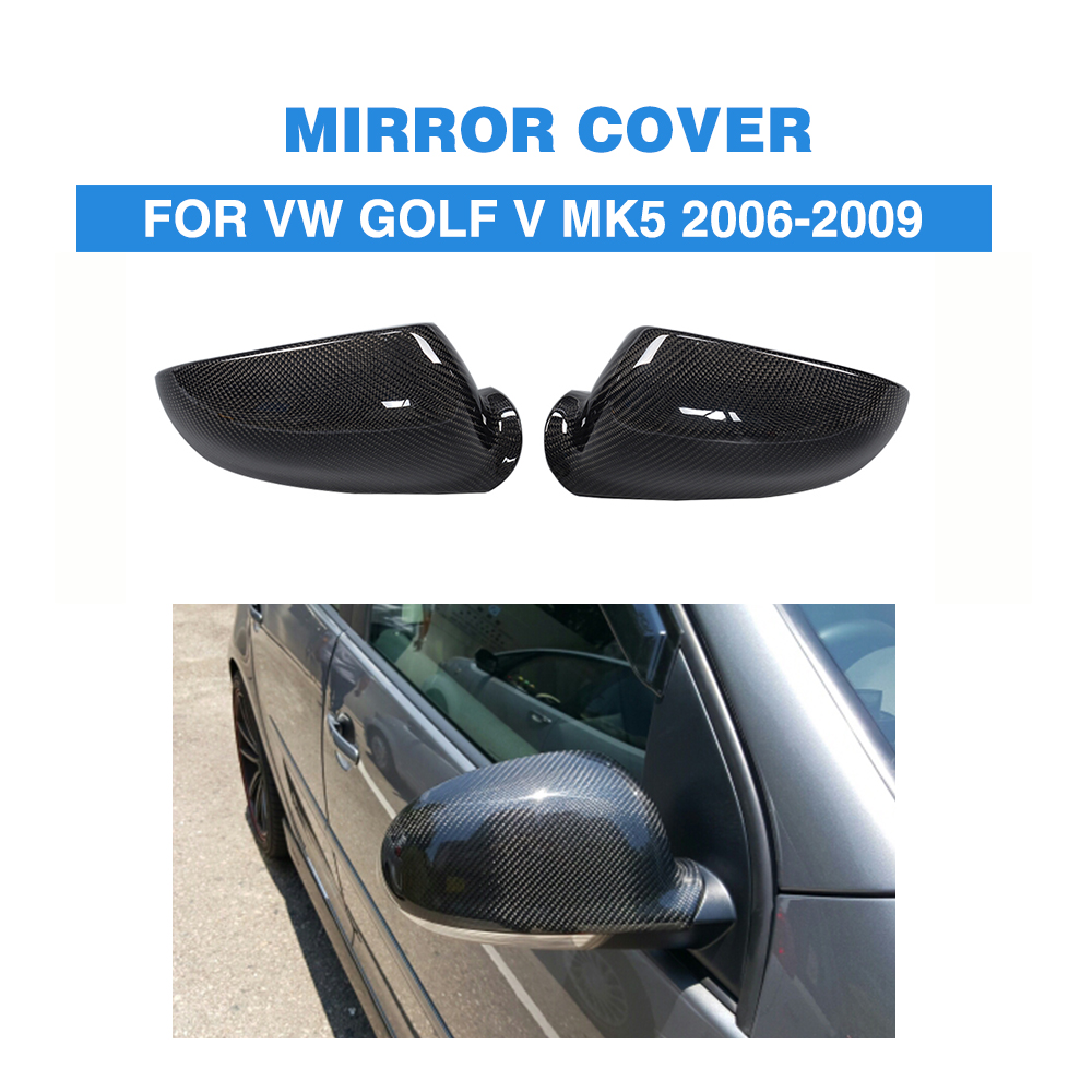 Carbon Fiber Replacement style car side mirror shield covers fit for VW golf V MK5 2006-2009 Mirror Caps carbon fiber auto car side rearview mirror caps covers trims for volkswagen vw golf 4 iv mk4 1998 2004 add on style