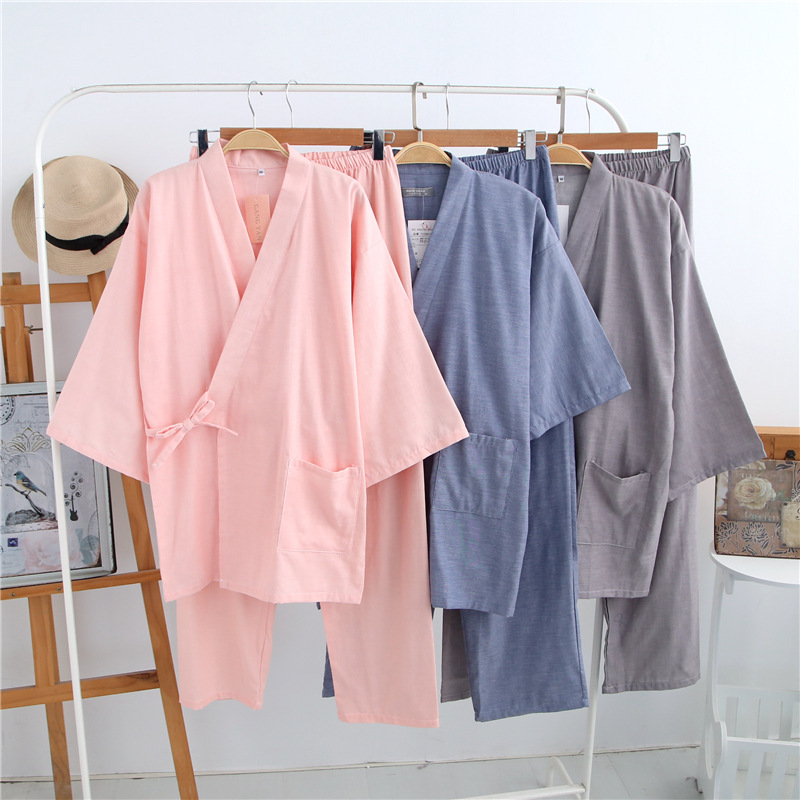 Cotton Bathrobes Pure Color Kimono Pajamas Sets Women Lovers Sleepwear Pijama Casual Pyjamas Sets Women