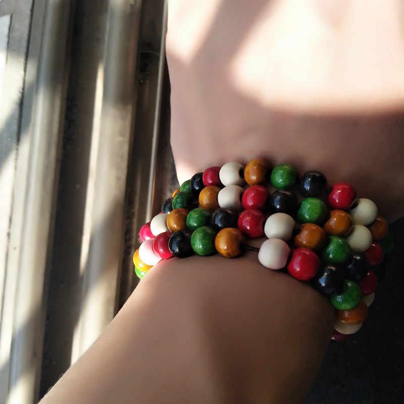 Estilo étnico série de nova cor de madeira talão pulseira trecho colo contas pequenas jóias por atacado especial