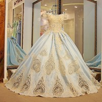 Lovely arabic style evening dresses short sleeves corset back ball gown party dresses 2018 light blue 100% real photos