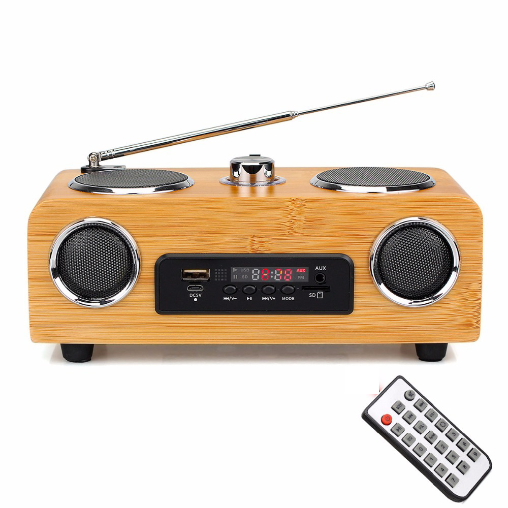 Handmade Bamboo Stereo Multimedia Speaker Classical <font><b>Radio</b></font> FM with MP3 Player Remote Control Y4113O
