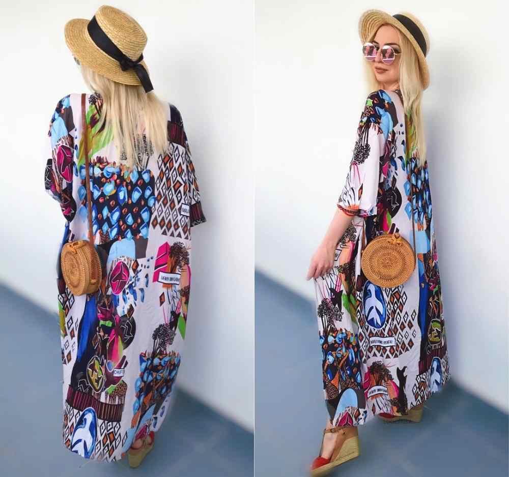2019 богемные с принтом и рукавами до локтя летняя пляжная одежда длинное кимоно кардиган хлопок туника женские Топы блузка рубашка Sarong plage N796